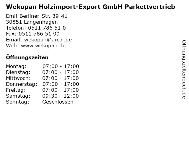 Wekopan Holzimport-Export GmbH Parkettvertrieb in Langenhagen: Adresse und Öffnungszeiten