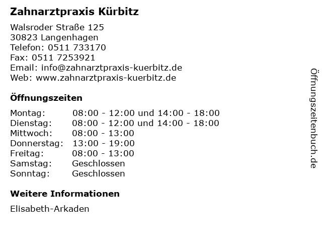 Zahnarztpraxis Kürbitz in Langenhagen: Adresse und Öffnungszeiten