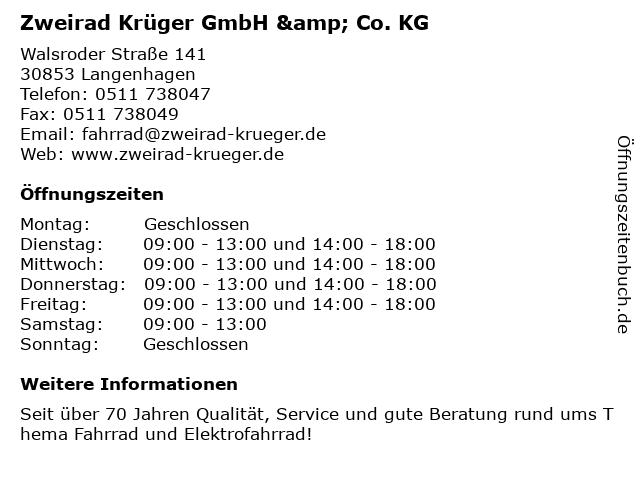 Zweirad Krüger in Langenhagen: Adresse und Öffnungszeiten