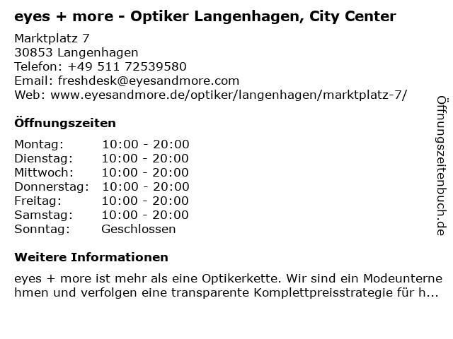 eyes + more Optikgeschäft in Langenhagen: Adresse und Öffnungszeiten
