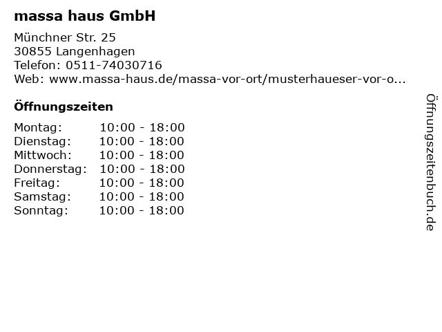 massa haus GmbH in Langenhagen: Adresse und Öffnungszeiten