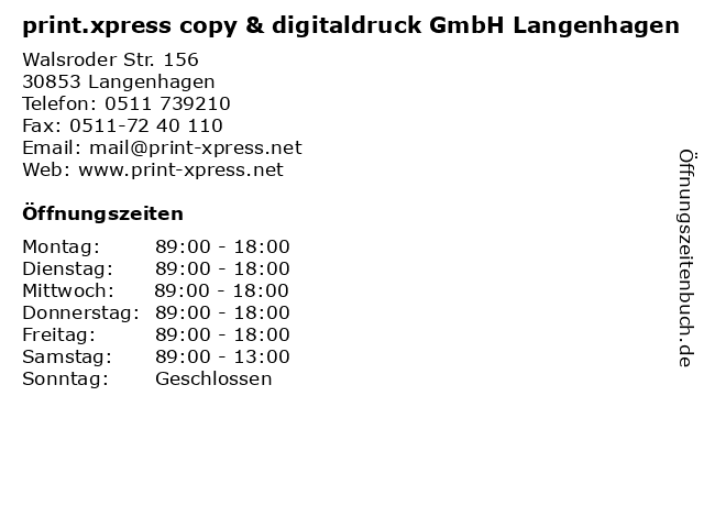 print.xpress copy & digitaldruck GmbH Langenhagen in Langenhagen: Adresse und Öffnungszeiten