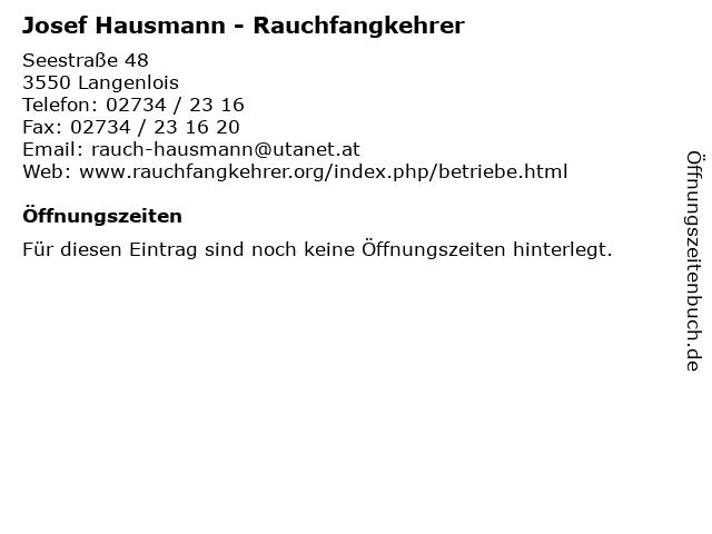 Josef Hausmann - Rauchfangkehrer in Langenlois: Adresse und Öffnungszeiten