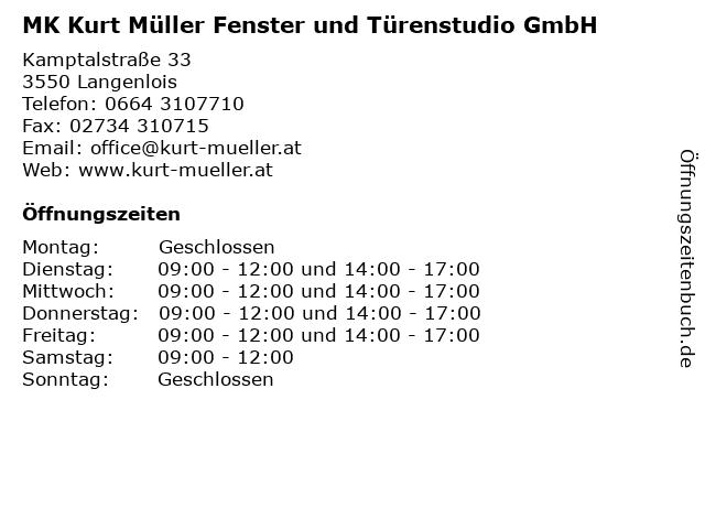 MK Kurt Müller Fenster und Türenstudio GmbH in Langenlois: Adresse und Öffnungszeiten