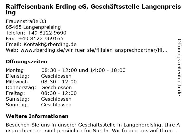Raiffeisenbank Erding eG, Geschäftsstelle Langenpreising in Langenpreising: Adresse und Öffnungszeiten