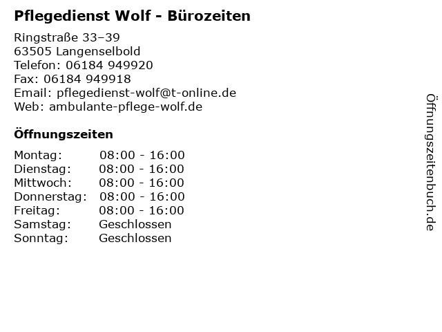 Pflegedienst Wolf - Bürozeiten in Langenselbold: Adresse und Öffnungszeiten