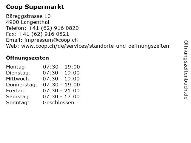 Coop Supermarkt in Langenthal: Adresse und Öffnungszeiten