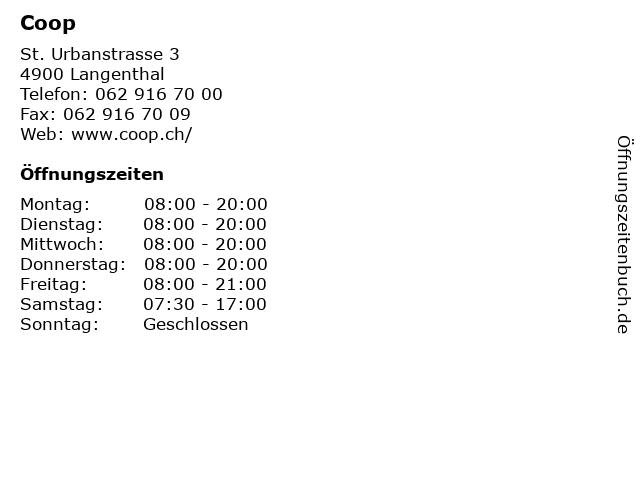 Coop in Langenthal: Adresse und Öffnungszeiten