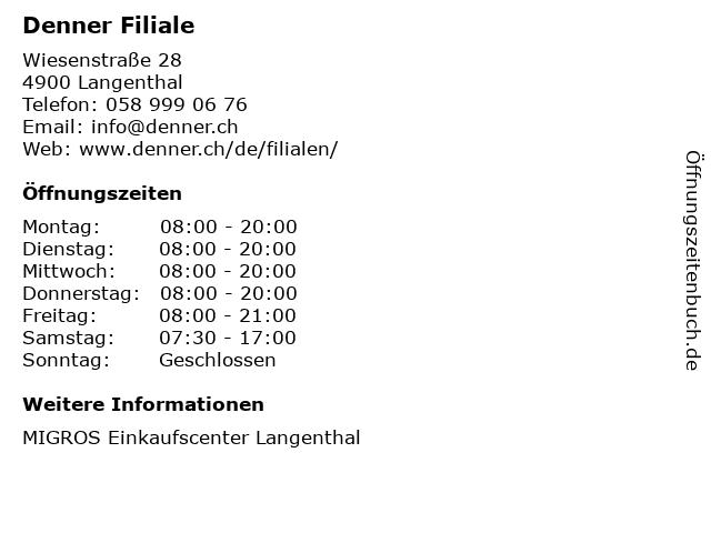 Denner AG in Langenthal: Adresse und Öffnungszeiten