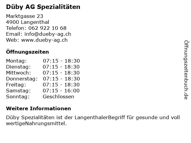 Düby AG Spezialitäten in Langenthal: Adresse und Öffnungszeiten