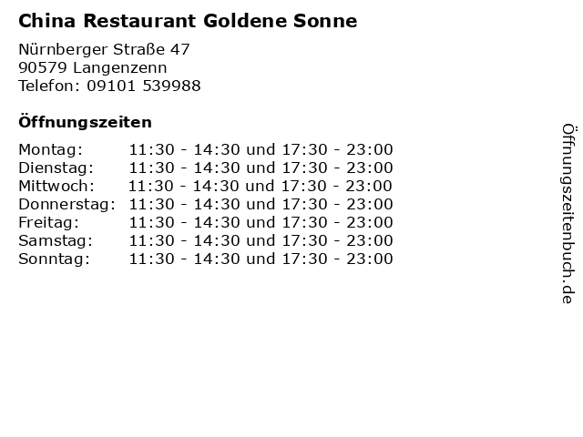 China Restaurant Goldene Sonne in Langenzenn: Adresse und Öffnungszeiten