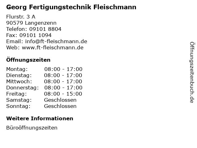 Georg Fertigungstechnik Fleischmann in Langenzenn: Adresse und Öffnungszeiten