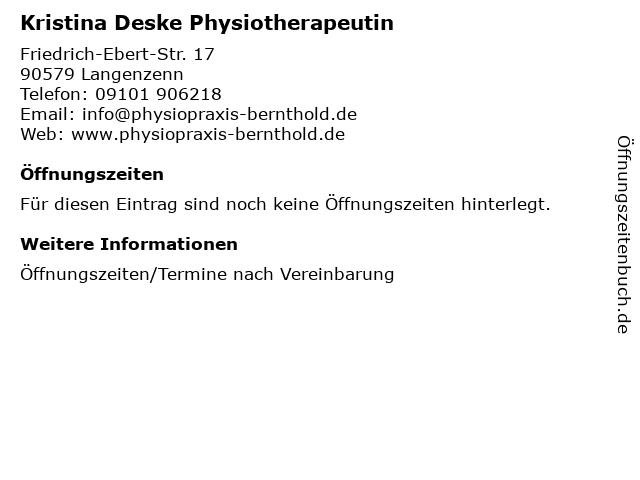 Kristina Deske Physiotherapeutin in Langenzenn: Adresse und Öffnungszeiten