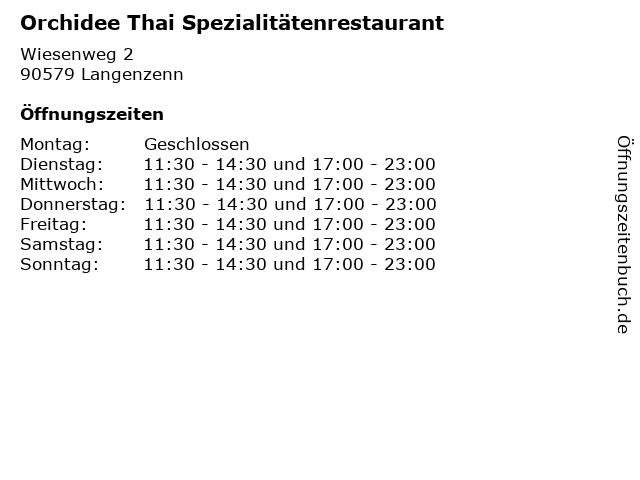 Orchidee Thai Spezialitätenrestaurant in Langenzenn: Adresse und Öffnungszeiten