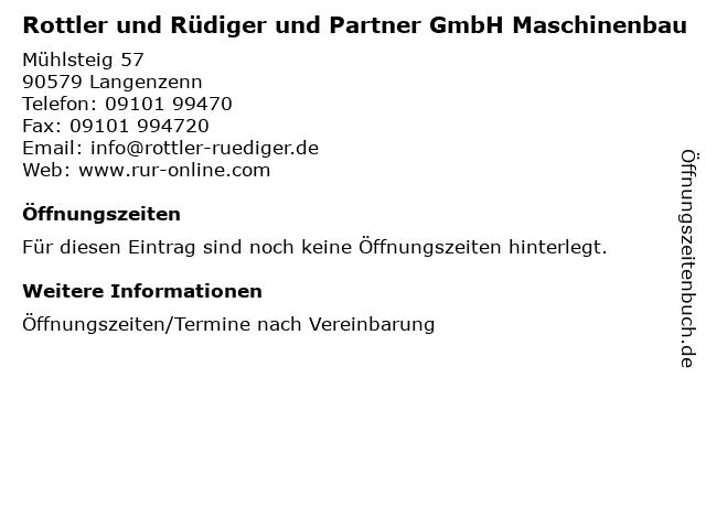 Rottler und Rüdiger und Partner GmbH Maschinenbau in Langenzenn: Adresse und Öffnungszeiten