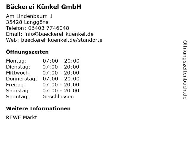 Bäckerei Künkel GmbH in Langgöns: Adresse und Öffnungszeiten