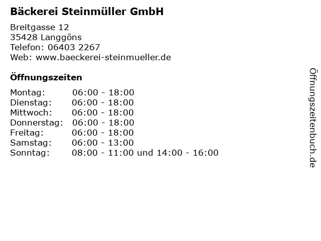 Bäckerei Steinmüller GmbH in Langgöns: Adresse und Öffnungszeiten