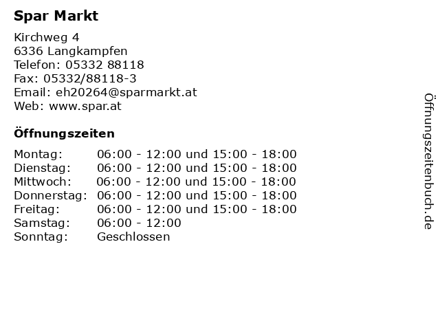 Spar Markt in Langkampfen: Adresse und Öffnungszeiten