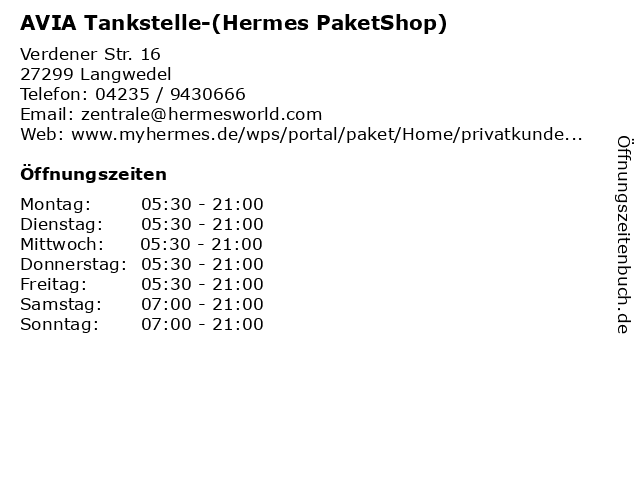 AVIA Tankstelle-(Hermes PaketShop) in Langwedel: Adresse und Öffnungszeiten