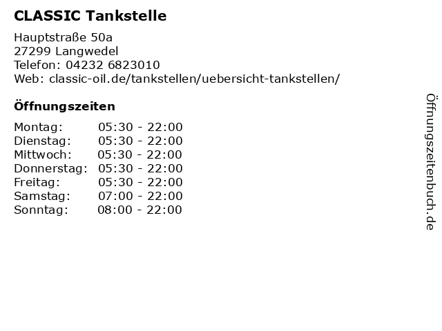Classic Tankstelle in Langwedel: Adresse und Öffnungszeiten