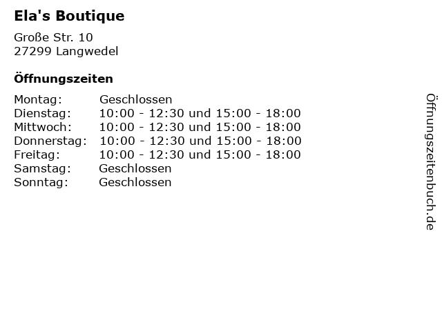 Ela's Boutique in Langwedel: Adresse und Öffnungszeiten