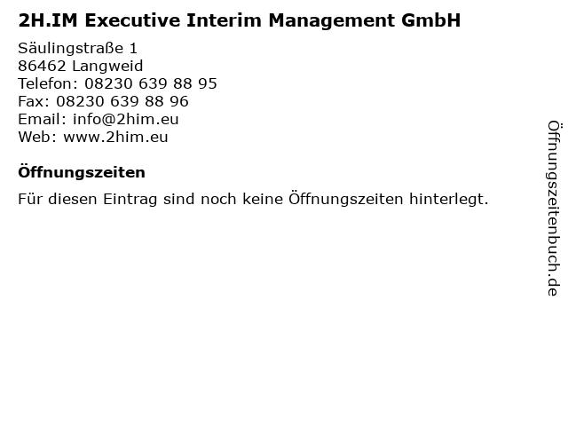 2H.IM Executive Interim Management GmbH in Langweid: Adresse und Öffnungszeiten
