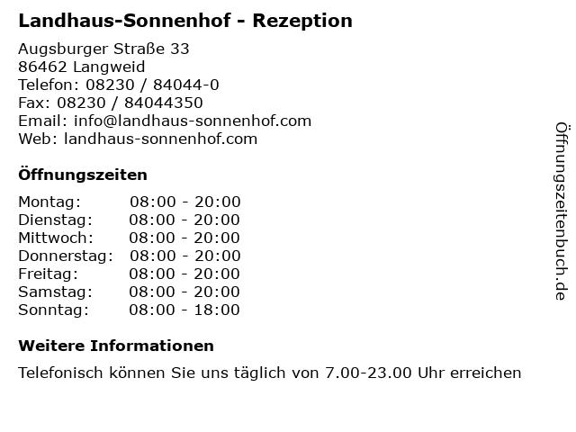 Landhaus-Sonnenhof - Rezeption in Langweid: Adresse und Öffnungszeiten
