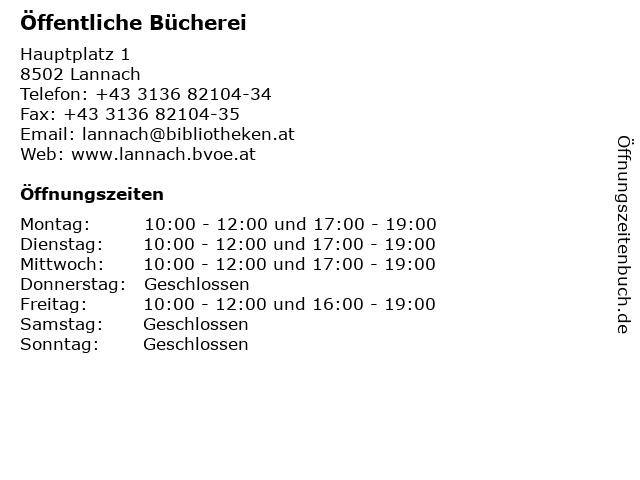 Öffentliche Bücherei in Lannach: Adresse und Öffnungszeiten