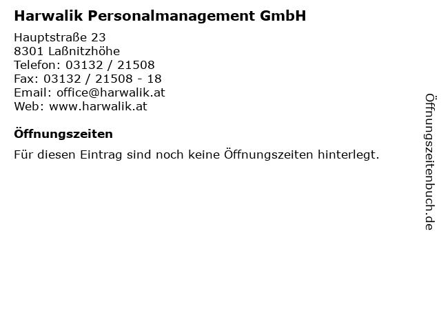 Harwalik Personalmanagement GmbH in Laßnitzhöhe: Adresse und Öffnungszeiten