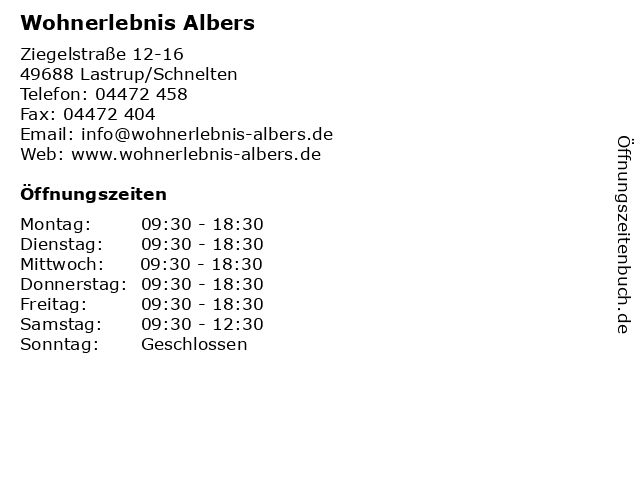 ᐅ Offnungszeiten Wohnerlebnis Albers Ziegelstrasse 12 16 In