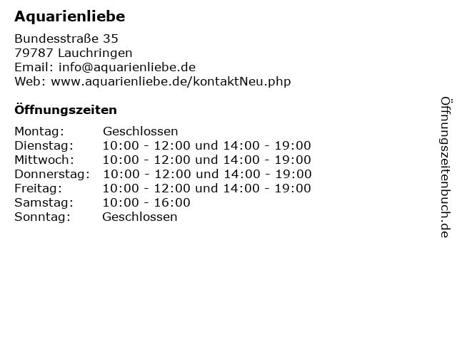 Aquarienliebe in Lauchringen: Adresse und Öffnungszeiten