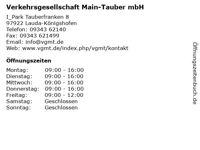 Verkehrsgesellschaft Main-Tauber mbH in Lauda-Königshofen: Adresse und Öffnungszeiten