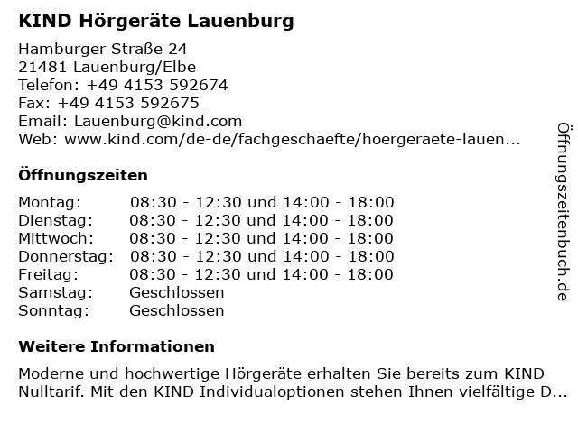 KIND Hörgeräte Lauenburg in Lauenburg/Elbe: Adresse und Öffnungszeiten