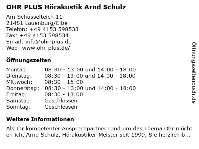 OHR PLUS Hörakustik Arnd Schulz in Lauenburg/Elbe: Adresse und Öffnungszeiten
