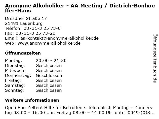 Anonyme Alkoholiker - AA Meeting / Dietrich-Bonhoeffer-Haus in Lauenburg: Adresse und Öffnungszeiten