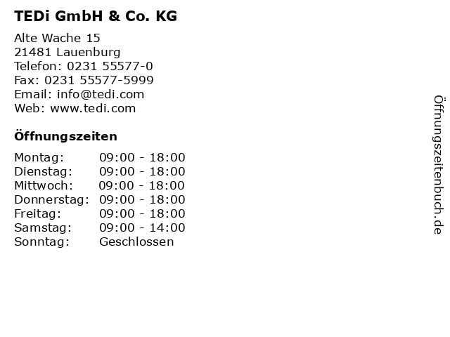 TEDi GmbH & Co. KG in Lauenburg: Adresse und Öffnungszeiten