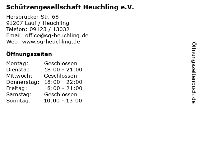 Schützengesellschaft Heuchling e.V. in Lauf / Heuchling: Adresse und Öffnungszeiten
