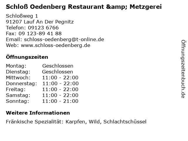 Schloß Oedenberg Restaurant & Metzgerei in Lauf An Der Pegnitz: Adresse und Öffnungszeiten