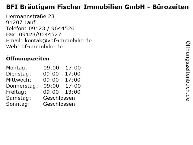 BFI Bräutigam Fischer Immobilien GmbH - Bürozeiten in Lauf: Adresse und Öffnungszeiten
