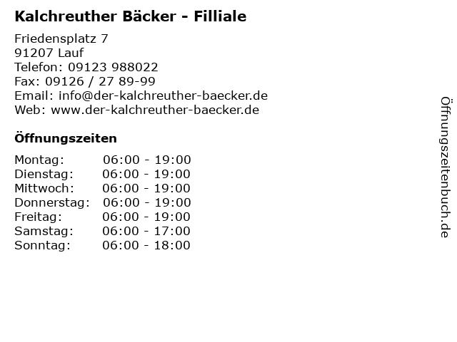 Kalchreuther Bäcker - Filliale in Lauf: Adresse und Öffnungszeiten