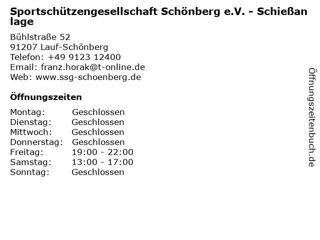 Sportschützengesellschaft Schönberg e.V. - Schießanlage in Lauf-Schönberg: Adresse und Öffnungszeiten