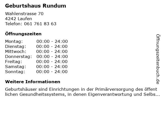 Geburtshaus Rundum in Laufen: Adresse und Öffnungszeiten