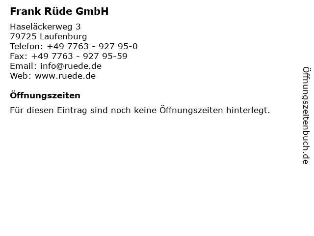 Frank Rüde GmbH in Laufenburg: Adresse und Öffnungszeiten