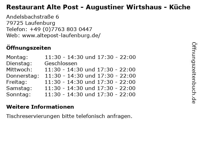 ᐅ Offnungszeiten Restaurant Alte Post Augustiner Wirtshaus Kuche Andelsbachstrasse 6 In Laufenburg