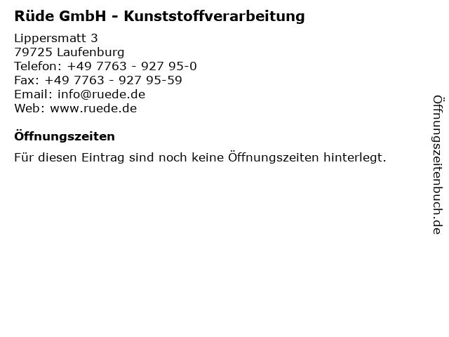 Rüde GmbH - Kunststoffverarbeitung in Laufenburg: Adresse und Öffnungszeiten