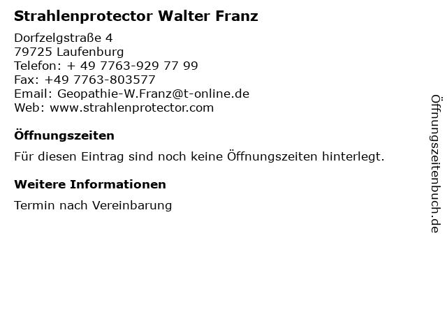 Strahlenprotector Walter Franz in Laufenburg: Adresse und Öffnungszeiten