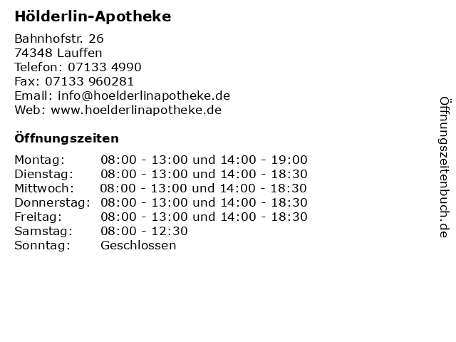 Hölderlin-Apotheke in Lauffen: Adresse und Öffnungszeiten
