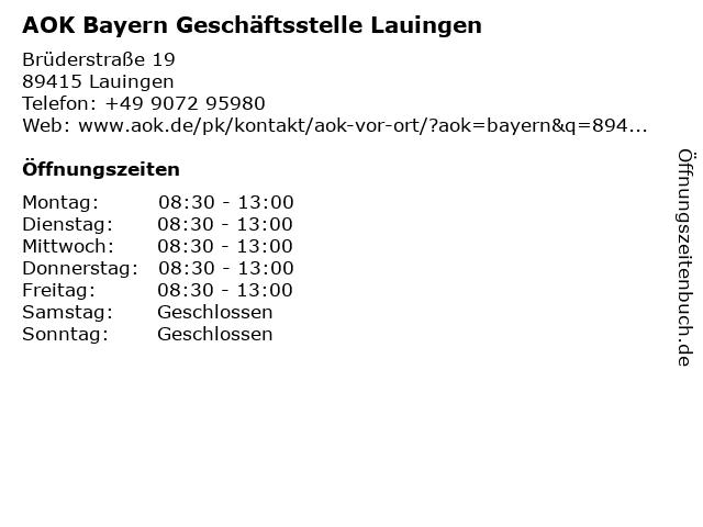 AOK Lauingen in Lauingen: Adresse und Öffnungszeiten