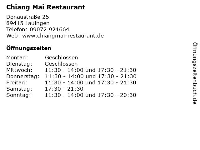 Chiang Mai Restaurant Lauingen in Lauingen: Adresse und Öffnungszeiten