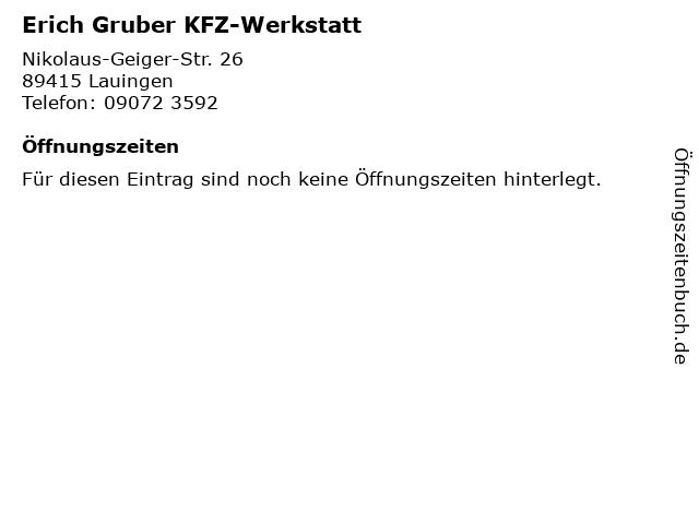 Erich Gruber KFZ-Werkstatt in Lauingen: Adresse und Öffnungszeiten